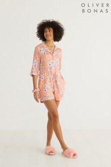Oliver Bonas Florence Floral Print Orange Pyjama Playsuit
