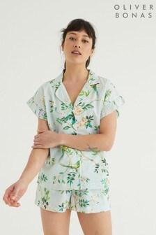 Oliver Bonas Floral Print Black Shirt, Shorts & Scrunchie Pyjama Set