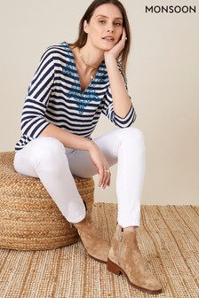 Monsoon Natural Embroidered Stripe Top