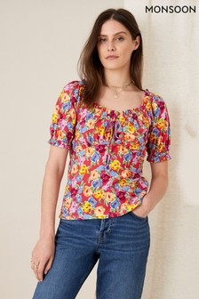 Monsoon Red Floral Sweetheart Neck Jersey Top