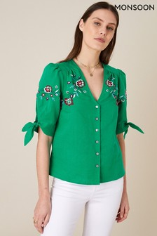 Monsoon Green Floral Embroidered Top In Linen Blend