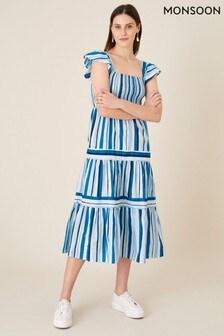 Monsoon Blue Stripe Tiered Midi Dress