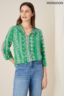 Monsoon Green Floral Tie Neck Blouse