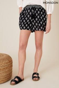 Monsoon Black Rori Shorts In Lenzing™ Ecovero™