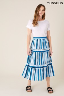 Monsoon Blue Stripe Print Tiered Skirt