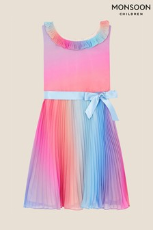 Monsoon Pink Rainbow Ombre Pleated Dress