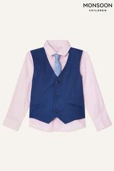 Monsoon Blue Jake Waistcoat, Shirt And Tie Set