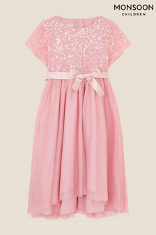 Monsoon Pink Truth Sequin Cape High-Low Dress