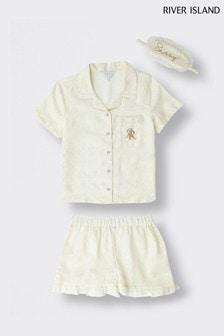 River Island Cream Monogram Jacquard Satin Pyjamas