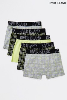 River Island Lime Neon Logo Boxers 5 Pack
