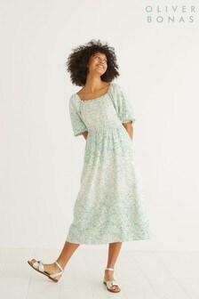 Oliver Bonas Linen Shirred Speckle Print Midi Dress