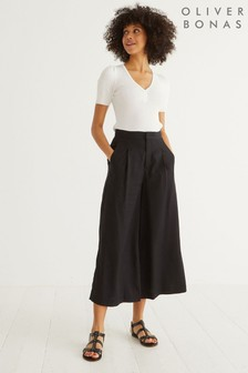 Oliver Bonas Black Wide Leg Cropped Trousers