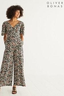 Oliver Bonas Black Vintage Daisy Floral Jumpsuit