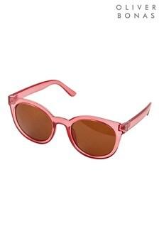 Oliver Bonas Preppy Round Pink Sunglasses