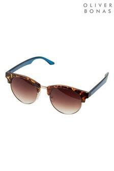 Oliver Bonas Tortoiseshell & Blue Arm Club Masters Sunglasses