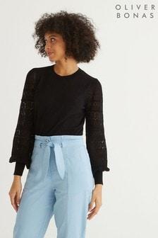 Oliver Bonas Multi Stitched Sleeve Black Jumper