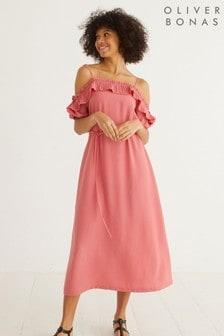 Oliver Bonas Pleat Detail Pink Midi Dress