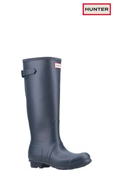 Hunter Blue Original Tall Back Adjustable Wellington Boots