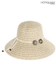HotSquash Cream Button Detail Women's Sun Hat