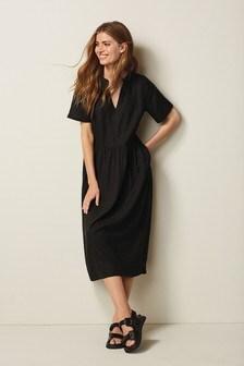 Linen Mix Midi Kaftan Dress