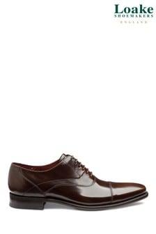 Loake Sharp Dark Brown Polished Toe Cap Oxford Shoes
