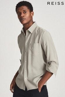 Reiss Green Bronte Cotton Mix Regular Fit Shirt