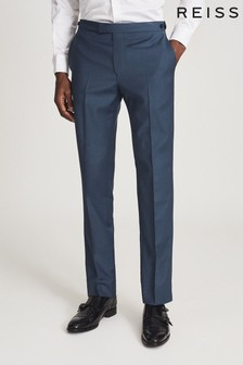 Reiss Blue Extra Wool Slim Fit Trousers