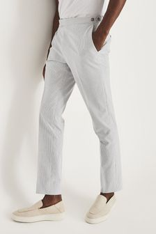 Reiss Blue Splash Seersucker Tailored Trousers