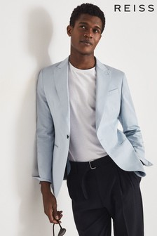 Reiss Blue Orient Cotton Linen Blend Slim Fit Blazer