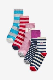 Collegiate Striped Ankle Socks 5 Pack