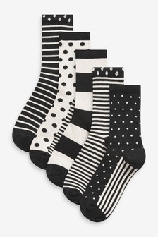 Spot And Stripe Ankle Socks 5 Pack