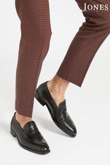 Jones Bootmaker Black James Men's Leather Penny Loafers