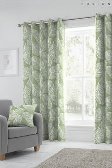 Fusion Green Eyelet Curtains