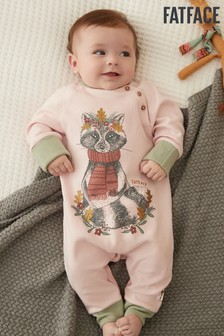 FatFace Baby Crew Printed Racoon Romper
