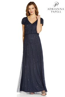 Adrianna Papell Blue Beaded Blouson Gown