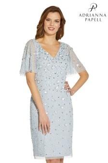 Adrianna Papell Blue Floral Flutter Beaded Sheath Dress