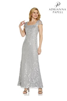 Adrianna Papell Silver Sequin Embroidery Mermaid Gown