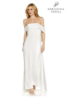 Adrianna Papell White Crepe Taffeta Bow Gown