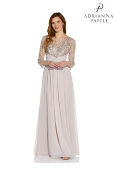 Adrianna Papell Natural Plus Beaded Gown With Soft Skirt
