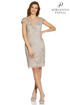 Adrianna Papell Natural Beaded Cocktail Dress
