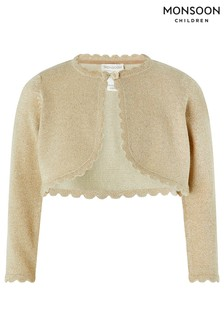 Monsoon Gold Baby Niamh Cropped Sparkle Knitted Cardigan