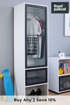 2 Door Wardrobe With Black Mesh Door in White By Lloyd Pascal