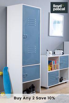 Blue Metal Door Wardrobe in White By Lloyd Pascal
