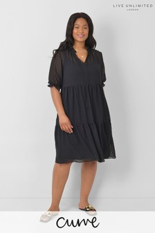 Live Unlimited Curve Black Textured Tiered Dress