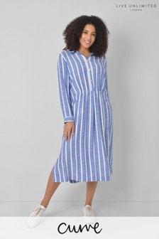 Live Unlimited Curve Blue Stripe Shirt Dress