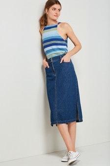 Elasticated Waist Denim Skirt
