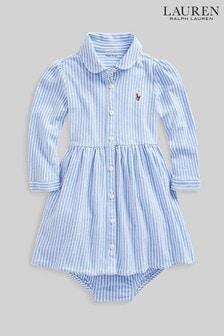 Ralph Lauren Blue Stripe Logo Shirt Dress