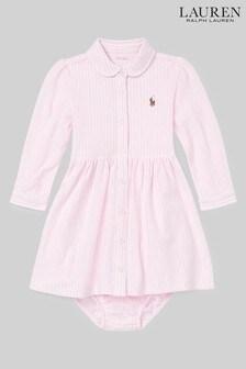 Ralph Lauren Pink Stripe Logo Shirt Dress