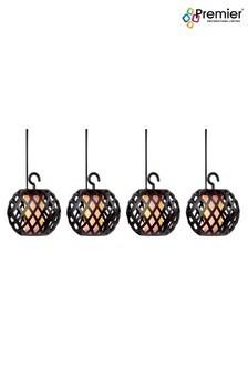 Premier Decorations Ltd Solar 10 Flickering Flame Lantern String Lights