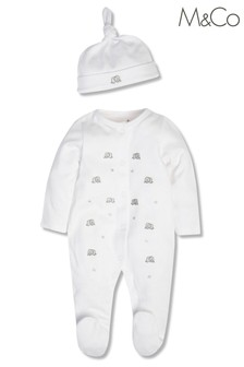 M&Co Elephant Sleepsuit And Hat